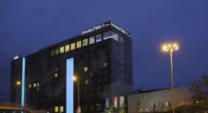 Filmowa fasada hotelu Double Tree by Hilton Łódź