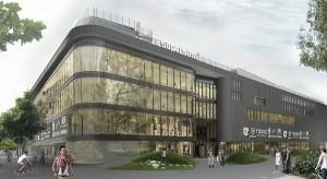 Wiecha na budowie nowego Supersamu w centrum Katowic