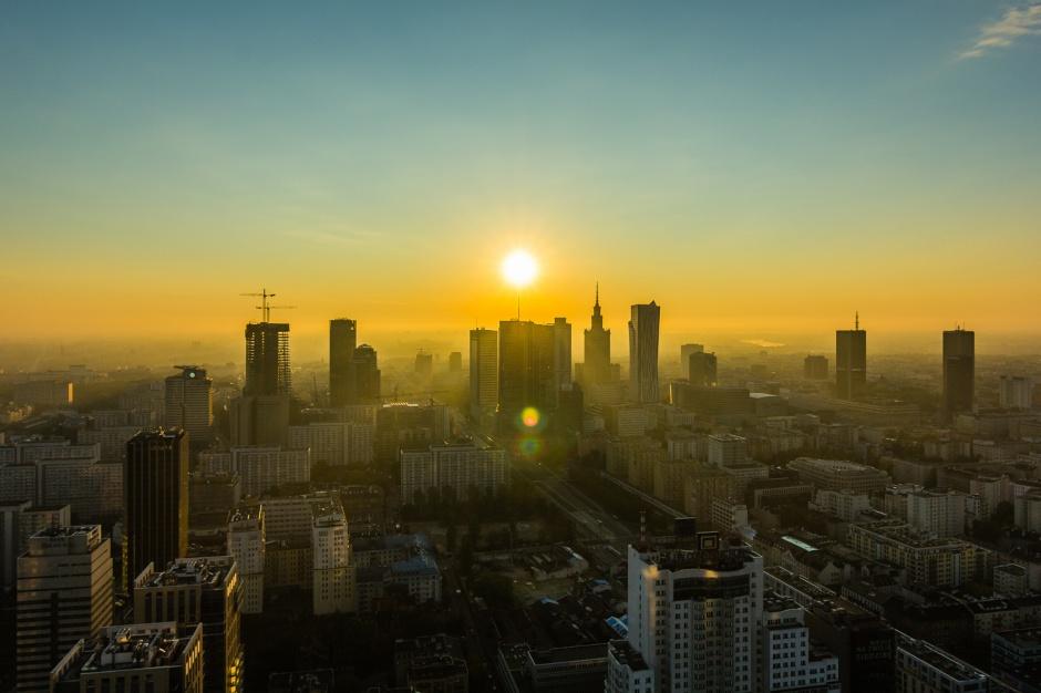 Warszawa z okien Warsaw Spire