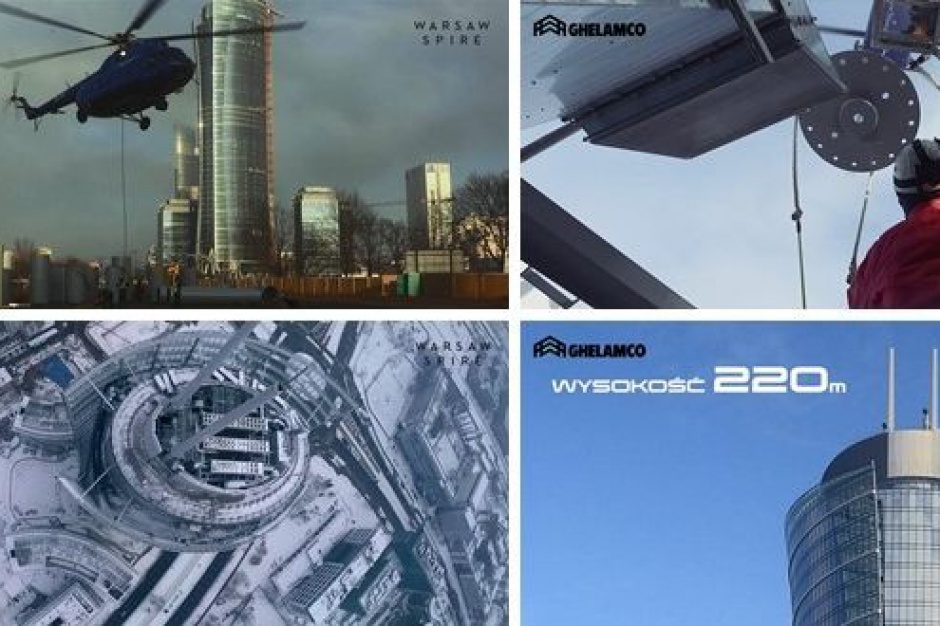 Dwie iglice na Warsaw Spire. Budynek sięgnał 220 metrów