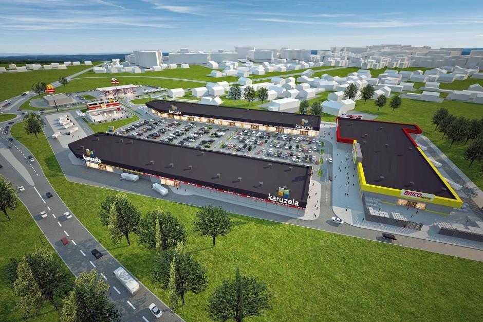 Park handlowy z planu na budowę. Wspólna koncepcja Karuzeli i Intermarché