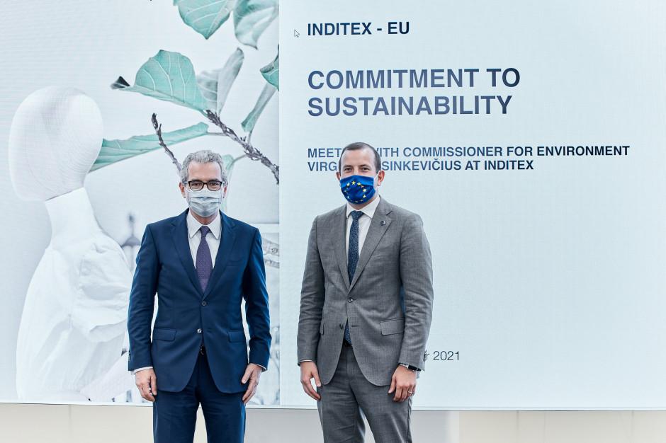 Komisarz UE ds. środowiska w centrali firmy Inditex